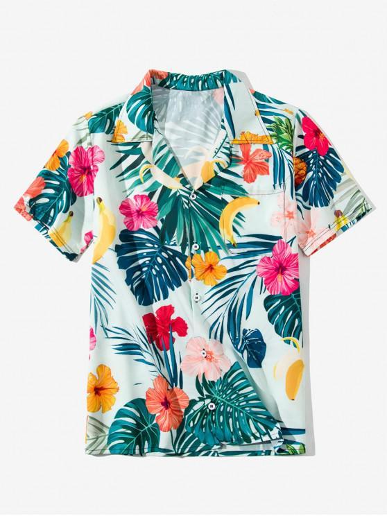 unique Tropical Leaf Flower Banana Print Vacation Shirt - BABY BLUE 2XL