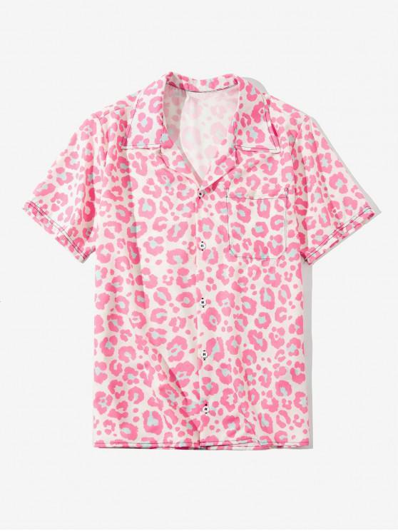affordable Leopard Print Short Sleeve Button Shirt - PIG PINK 4XL