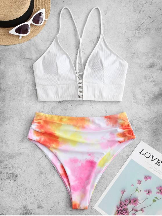women's ZAFUL Tie Dye Ribbed Lace Up High Cut Tankini Swimsuit - WHITE 2XL