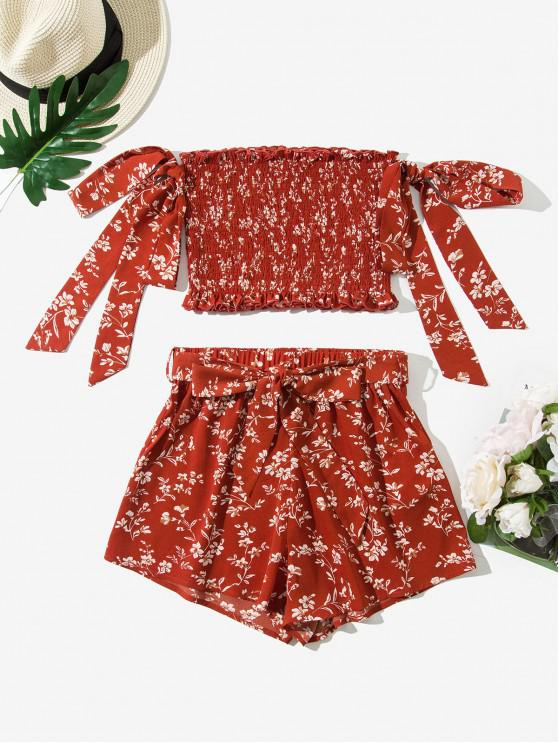 unique ZAFUL Tie Sleeve Ditsy Floral Smocked Two Piece Set - LAVA RED S