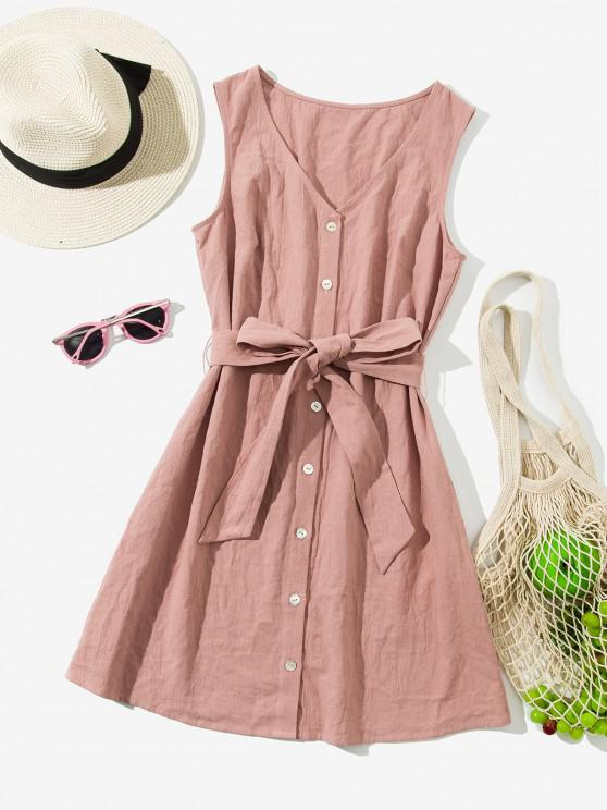 affordable ZAFUL Sleeveless Button Up Belted Mini Dress - ORANGE PINK M