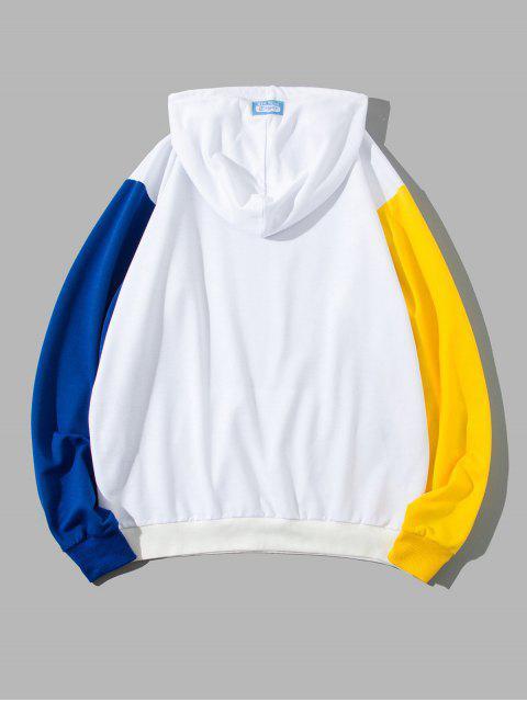 ZAFUL圖形打印彩色拼接連帽外套 - 白色 L Mobile