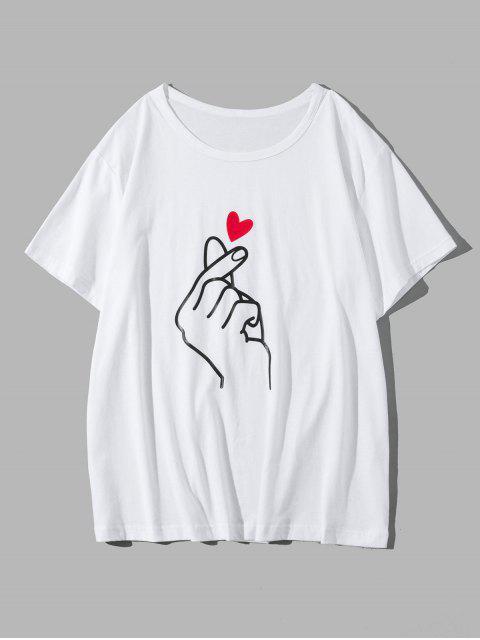 Camiseta Casual de Cuello Redondo con Estampado de Dedo - Blanco L Mobile