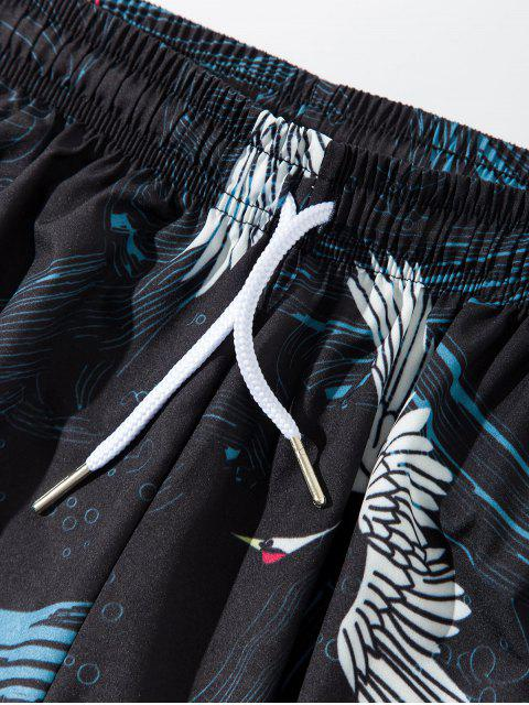 shop Flying Crane Print Drawstring Harem Pants - BLACK L Mobile