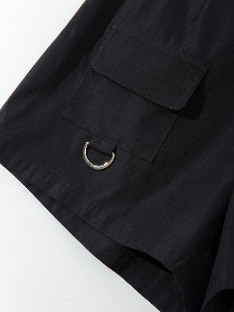 fashion ZAFUL High Waisted Front Pockets Cargo Shorts - BLACK M Mobile