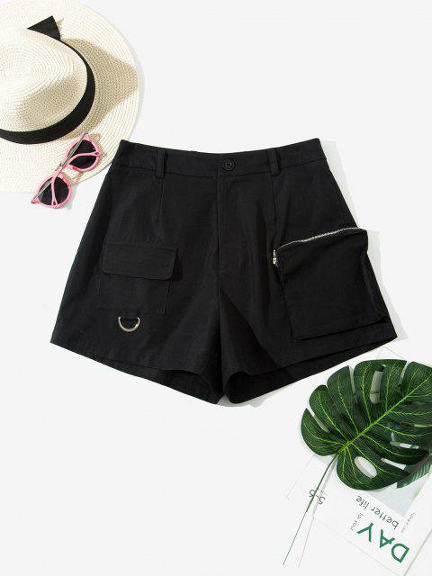 fancy ZAFUL High Waisted Front Pockets Cargo Shorts - BLACK S Mobile