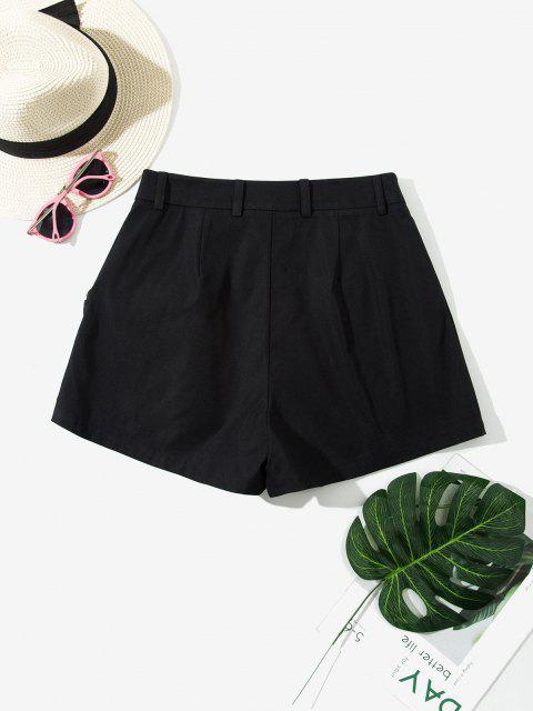 fashion ZAFUL High Waisted Front Pockets Cargo Shorts - BLACK XL Mobile