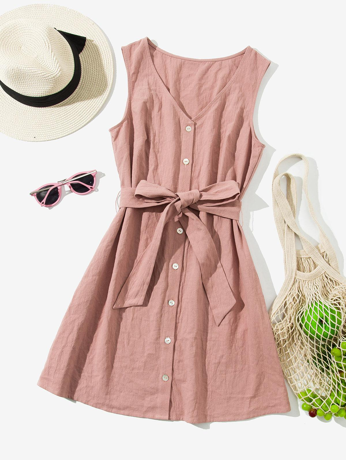 ZAFUL Sleeveless Button Up Belted Mini Dress