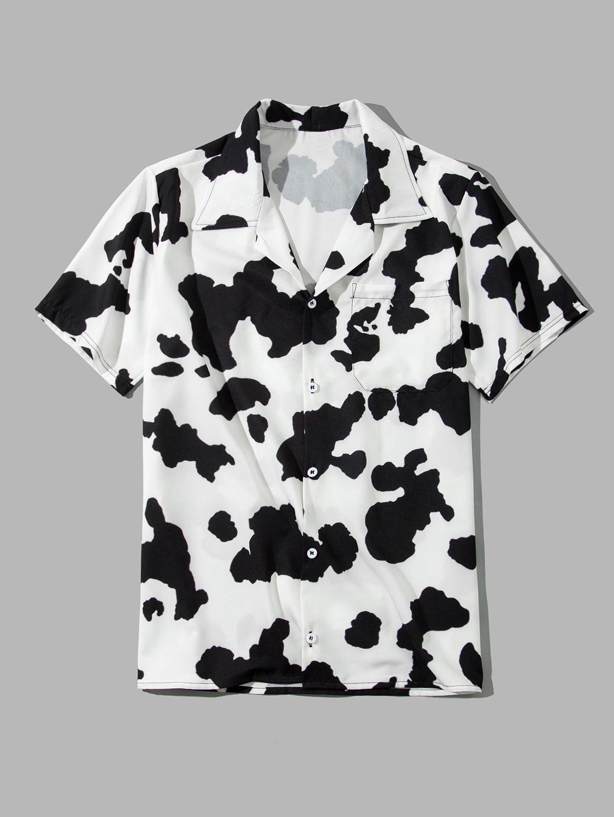 Cow Print Pocket Short Sleeve Button Shirt фото