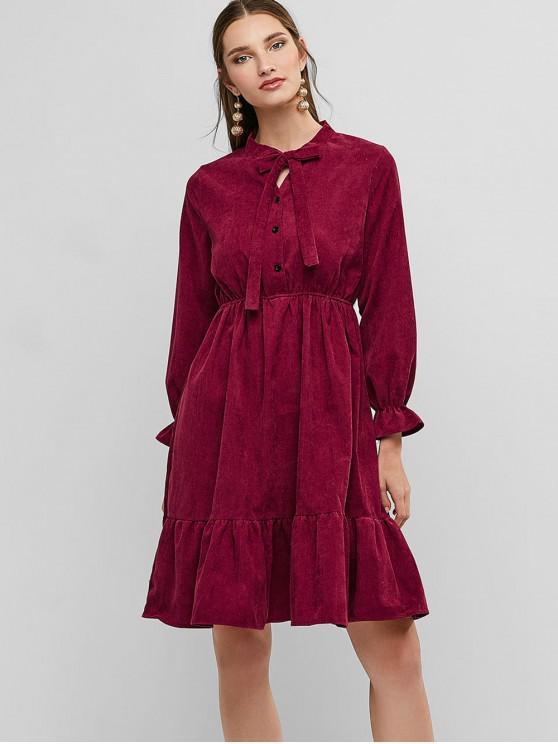 Robe en Velours à Volants - Rouge Vineux M