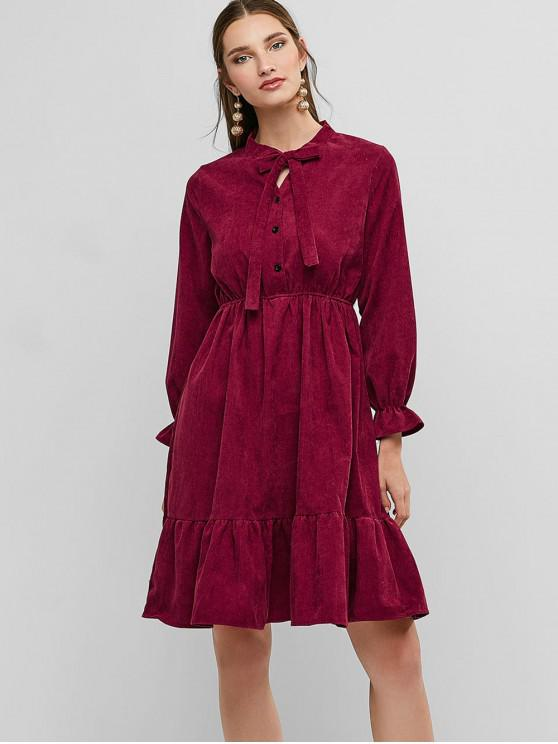 affordable Pussy Bow Flounce Corduroy Dress - RED WINE L