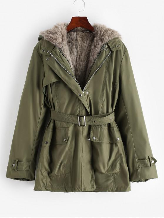 women Hooded Removable Two Way Faux Fur Belted Parka Coat - ARMY GREEN L