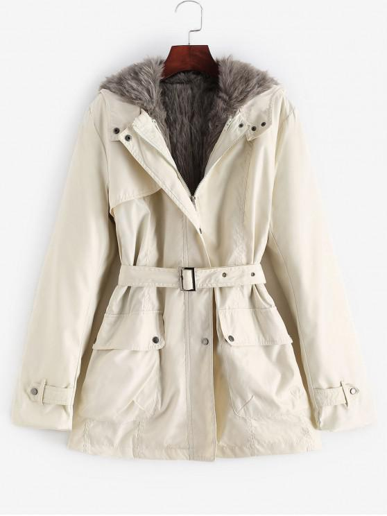 new Hooded Removable Two Way Faux Fur Belted Parka Coat - WHITE S