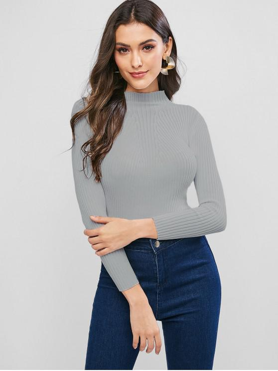 latest Pullover Mock Neck Plain Slim Sweater - GRAY CLOUD ONE SIZE