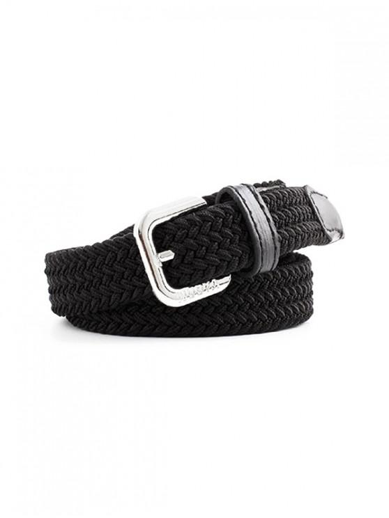 womens Braided Canvas Stretch Buckle Belt - BLACK