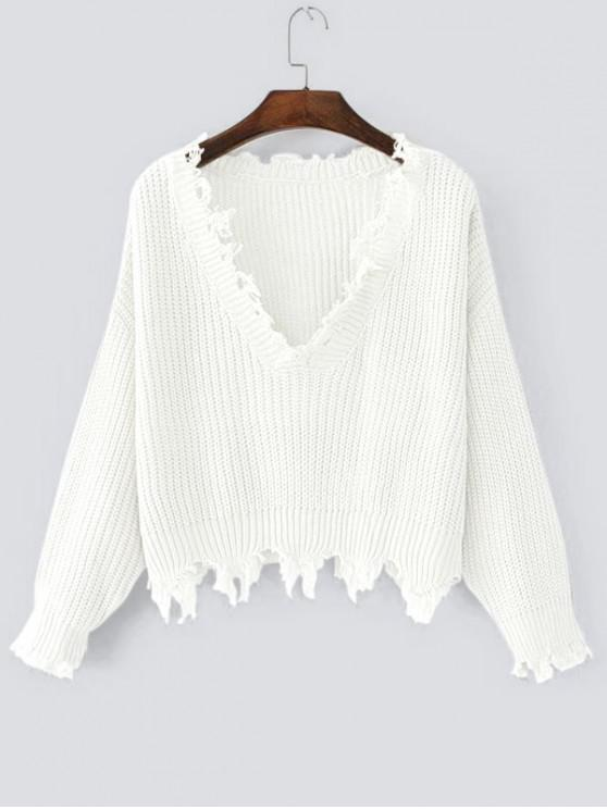 outfit Loose Ripped V Neck Sweater - WHITE ONE SIZE
