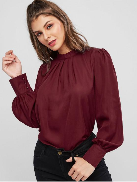 new Keyhole Back Curved Pleated Work Blouse - RED WINE S