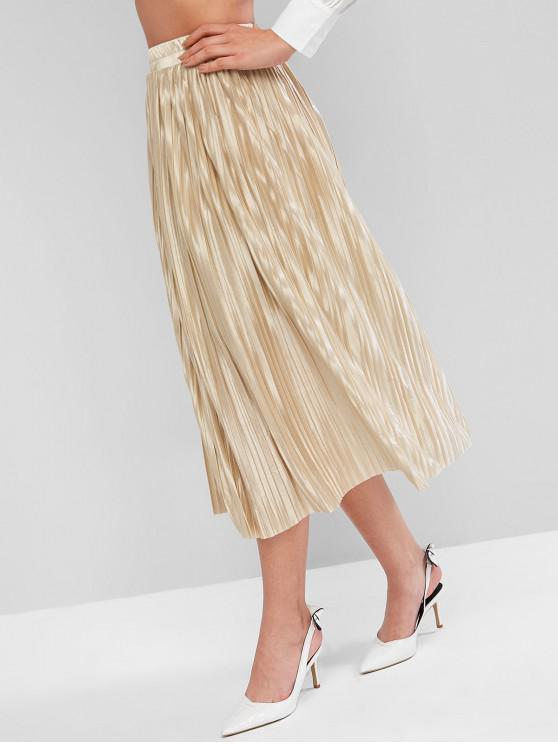 fashion Shiny Pleated Skirt - LIGHT KHAKI ONE SIZE