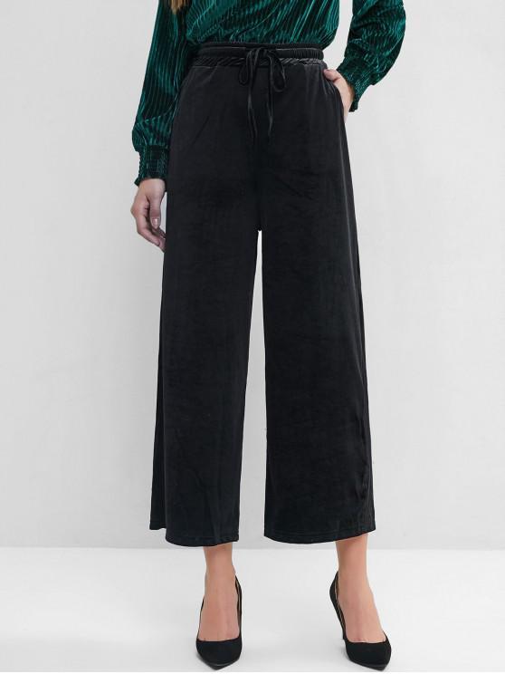 women Velvet Pocket Drawstring Wide Leg Pants - BLACK S