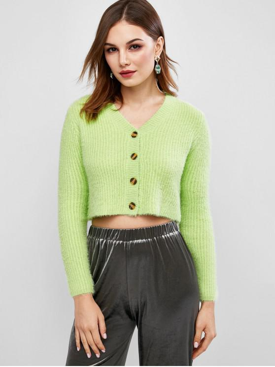 ladies Fuzzy Buttons Cropped Cardigan - GREEN S