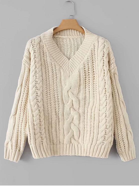 trendy V Neck Chunky Knit Drop Shoulder Sweater - BEIGE ONE SIZE