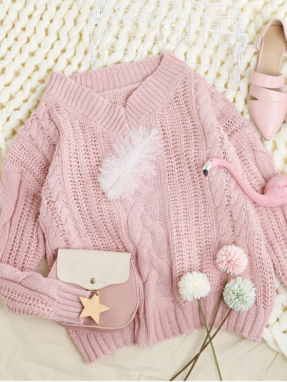 women's V Neck Chunky Knit Drop Shoulder Sweater - PINK ONE SIZE