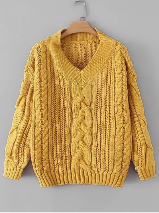 fancy V Neck Chunky Knit Drop Shoulder Sweater - YELLOW ONE SIZE