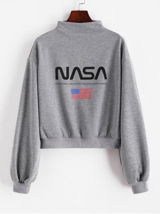 new ZAFUL Mock Neck Drop Shoulder American Flag Sweatshirt - GRAY CLOUD XL