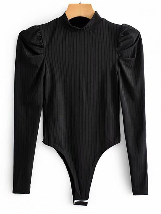 Mock pescoço com nervuras Puff luva Bodysuit - Preto L