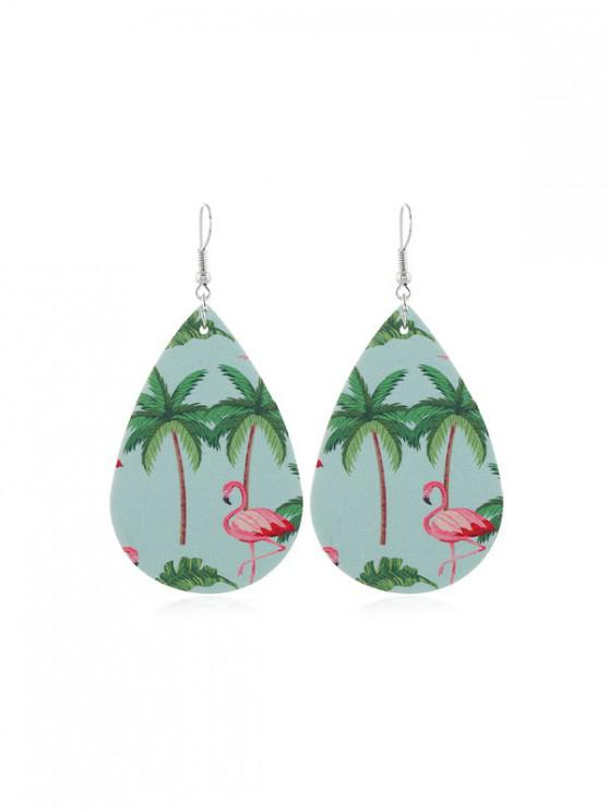 womens Flamingo Print PU Drop Hook Earrings - MULTI-D