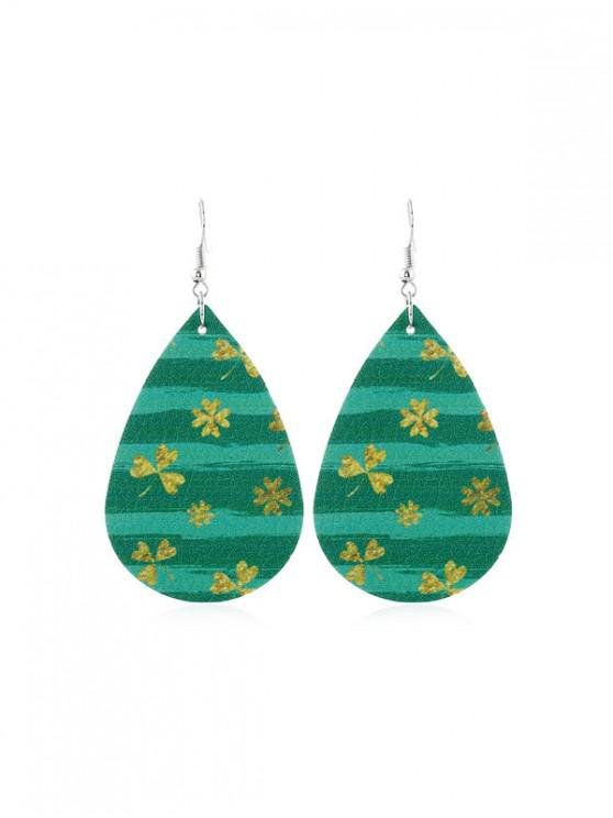 outfits Water Drop Leaf Print PU Hook Earrings - MULTI-C