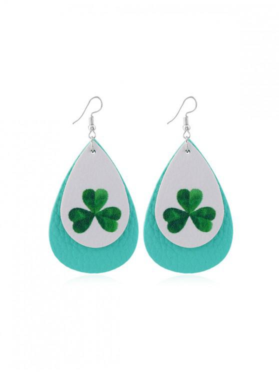 women Layer Leaf Print PU Water Drop Hook Earrings - MULTI-B