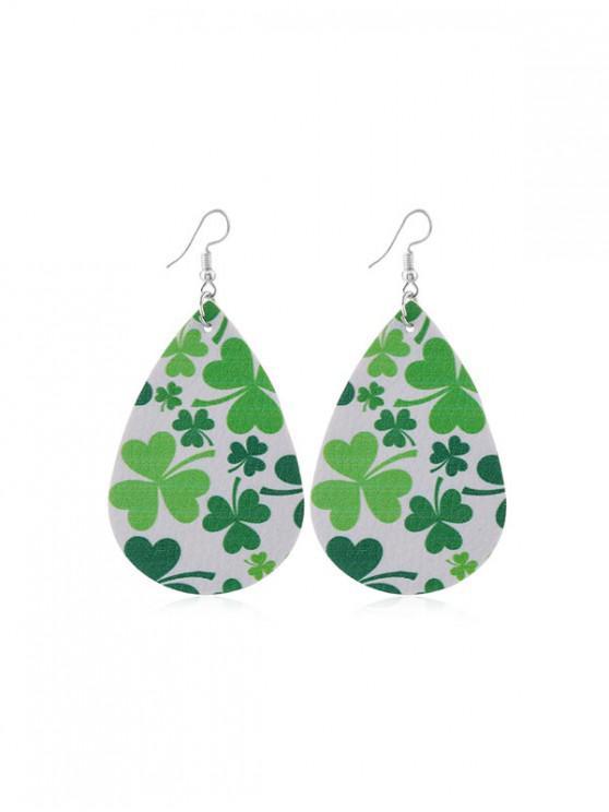 outfit Water Drop Leaf Print PU Hook Earrings - MULTI-A