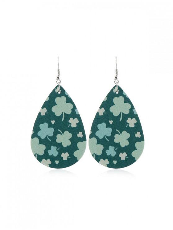 trendy Water Drop Leaf Print PU Hook Earrings - MULTI-F