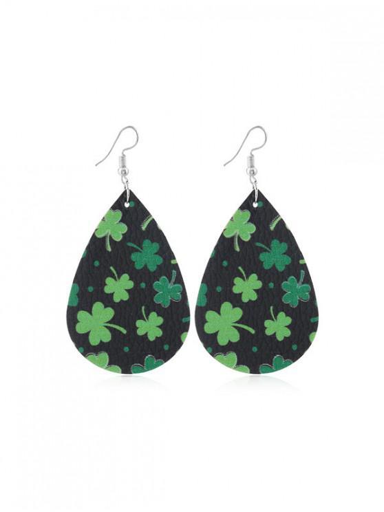 affordable Water Drop Leaf Print PU Hook Earrings - MULTI-D