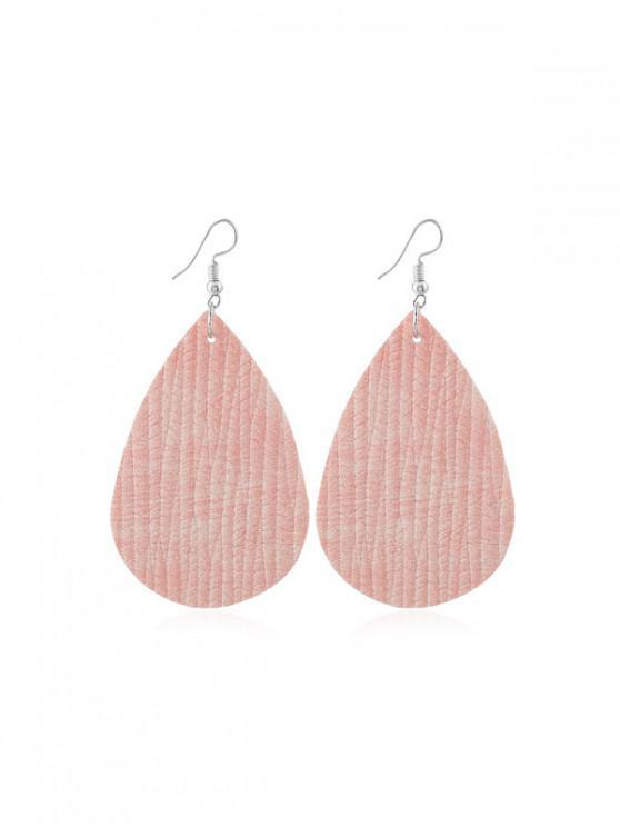 ladies Water Drop Striped PU Hook Earrings - PINK