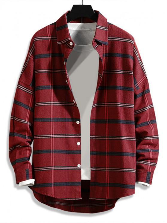new High Low Plaid Print Curved Hem Button Long Shirt - RED XL