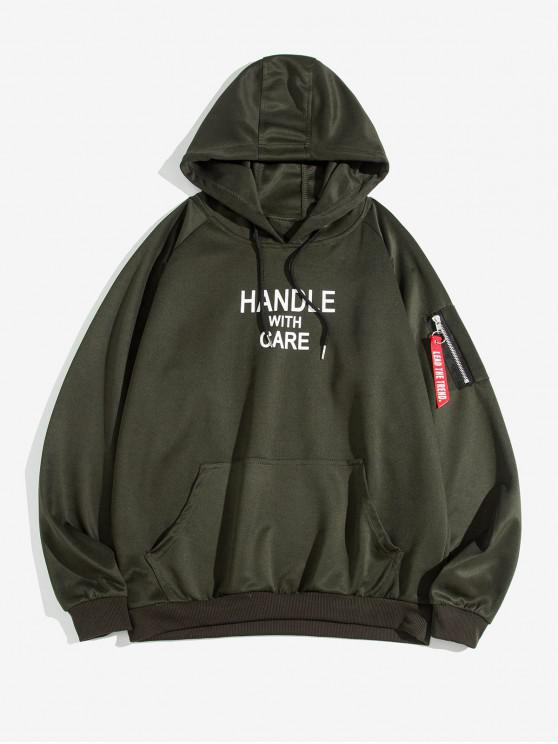 latest Letter Graphic Print Pouch Pocket Hoodie - ARMY GREEN S