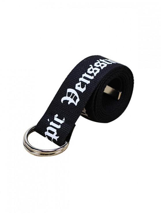 Cinturon de Tela con Estampado de Letras - Negro