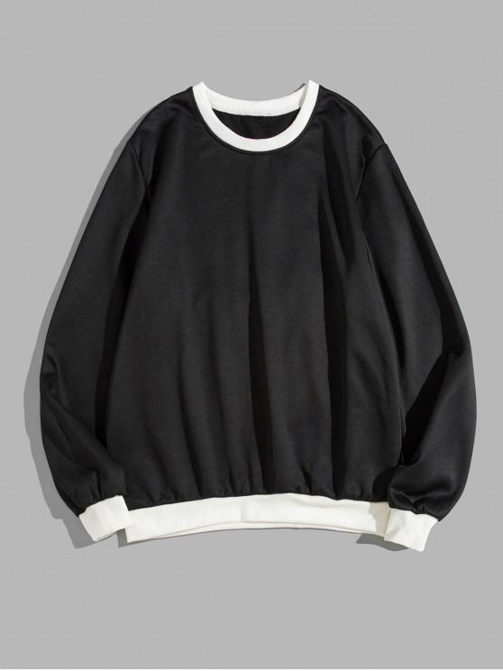 ladies Color Spliced Round Neck Sweatshirt - BLACK L