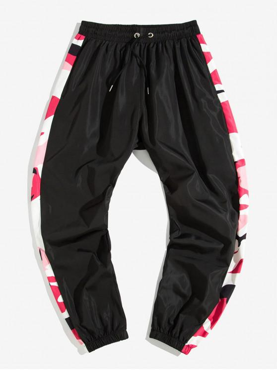 outfits Camo Printed Spliced Jogger Pants - BLACK M