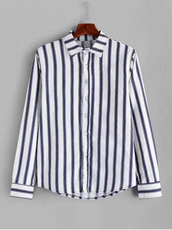 best Striped Pattern Casual Full Sleeves Shirt - WHITE 3XL