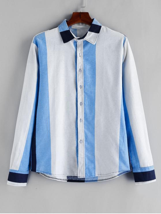 trendy Color Blocking Button Long Sleeves Shirt - DAY SKY BLUE 2XL