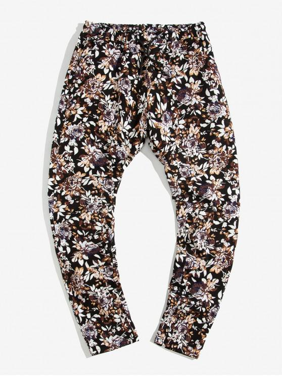 shop Flower Print Drawstring Casual Pants - MULTI-A S