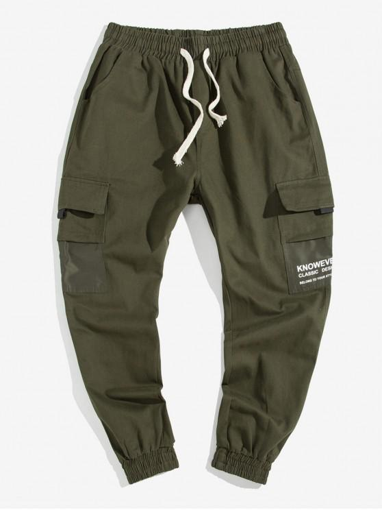 fancy Letter Pocket Decoration Casual Pants - ARMY GREEN L