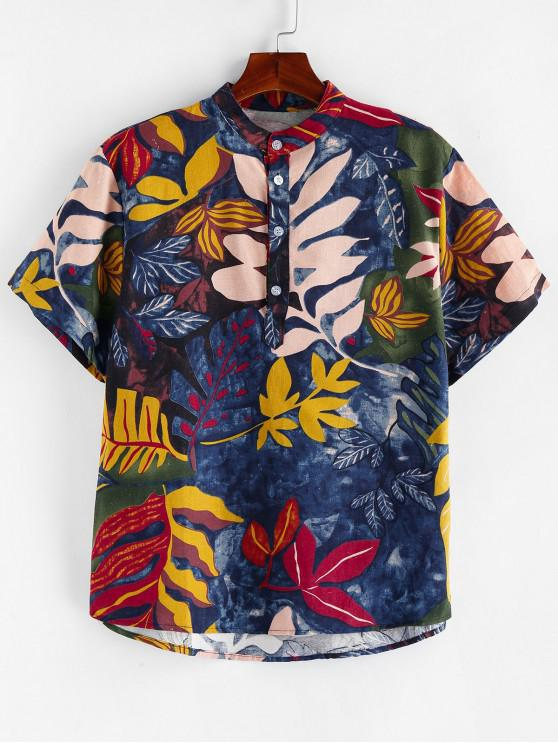 women Leaf Painting Printed Short Sleeves Shirt - MULTI 3XL