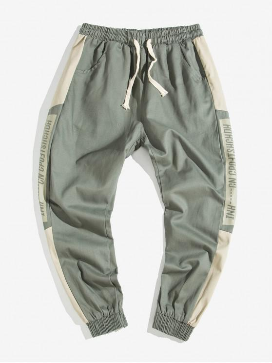 trendy Letter Color Blocking Printed Jogger Pants - ARMY BROWN XS