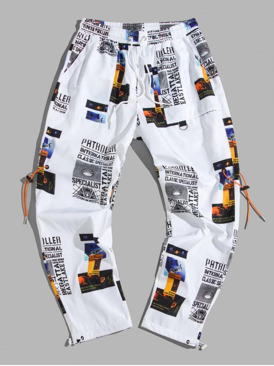 women's Letter Graphic Print Casual Drawstring Pants - WHITE L