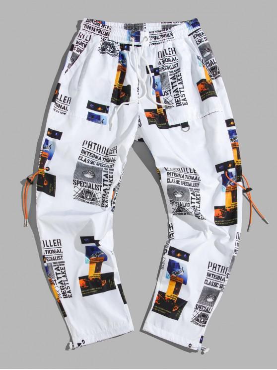 shops Letter Graphic Print Casual Drawstring Pants - WHITE 2XL
