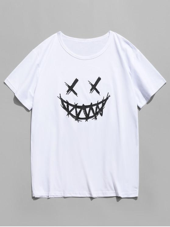 fashion Happy Face Graphic Casual Short Sleeve T Shirt - WHITE L